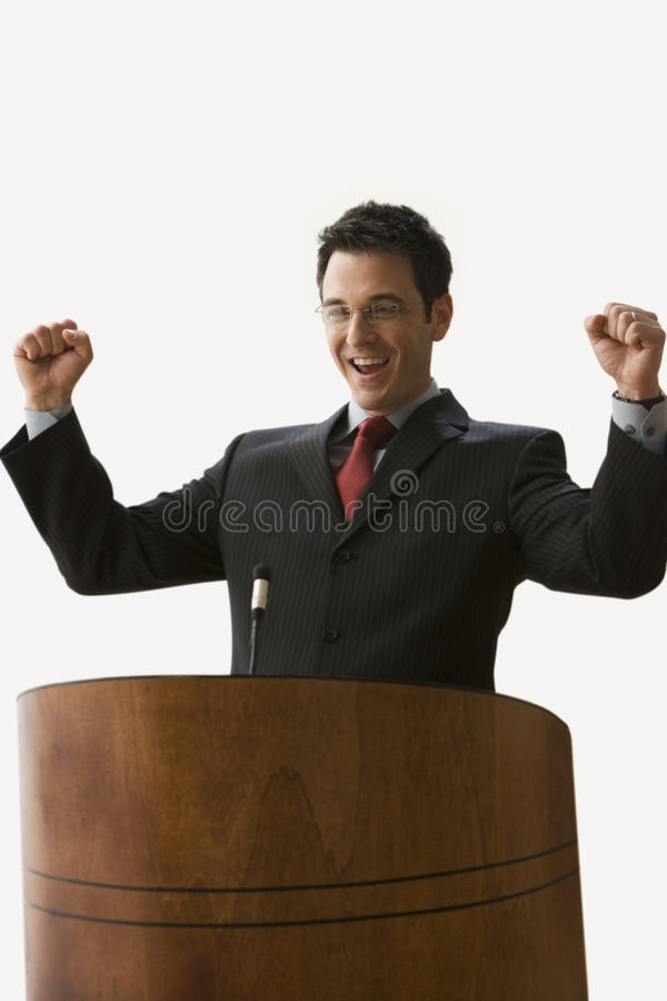 Download Businessman With Arms Raised - Isolated. Stock Photo - Image of hair, executive: 14647914