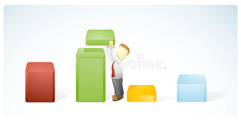 Businessman is arranging the strategy. Vector illustration of a businessman is arranging the strategy to increase the target stock illustration
