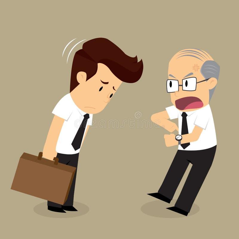 Businessman arrive late ,boss complain. Vector royalty free illustration