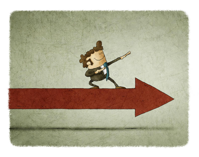 Businessman on an arrow moving forward stock illustration