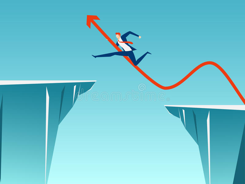 Businessman with arrow sign jump through the gap between hill. Running and jump over cliffs. Business risk and success concept. Cartoon Vector Illustration stock illustration