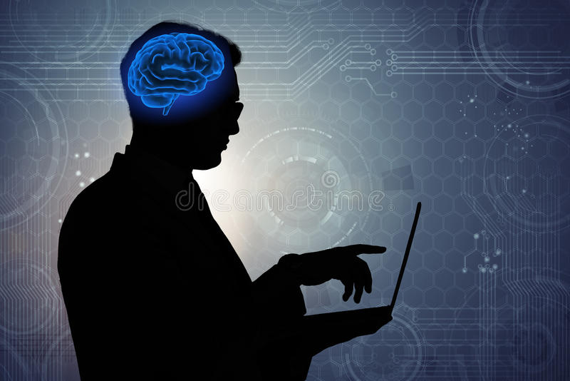 The businessman in artificial intelligence concept. Businessman in artificial intelligence concept stock image