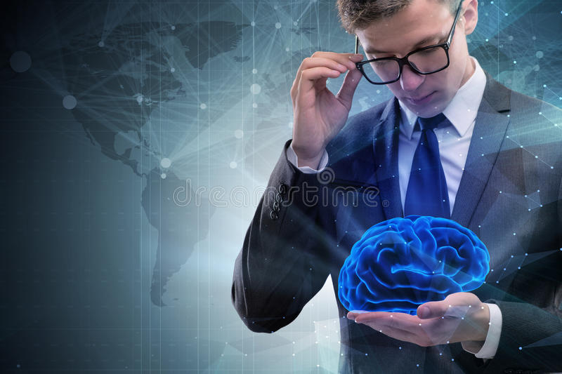The businessman in artificial intelligence concept. Businessman in artificial intelligence concept stock photography