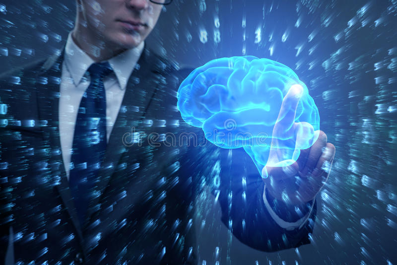 The businessman in artificial intelligence concept. Businessman in artificial intelligence concept royalty free stock images