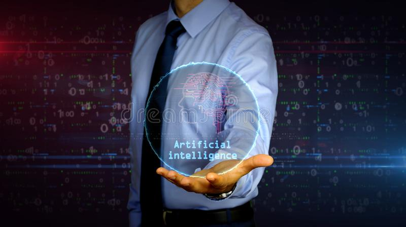Businessman with artificial intelligence symbol hologram. Man with dynamic artificial intelligence symbol hologram on hand. Businessman and futuristic concept of stock photography