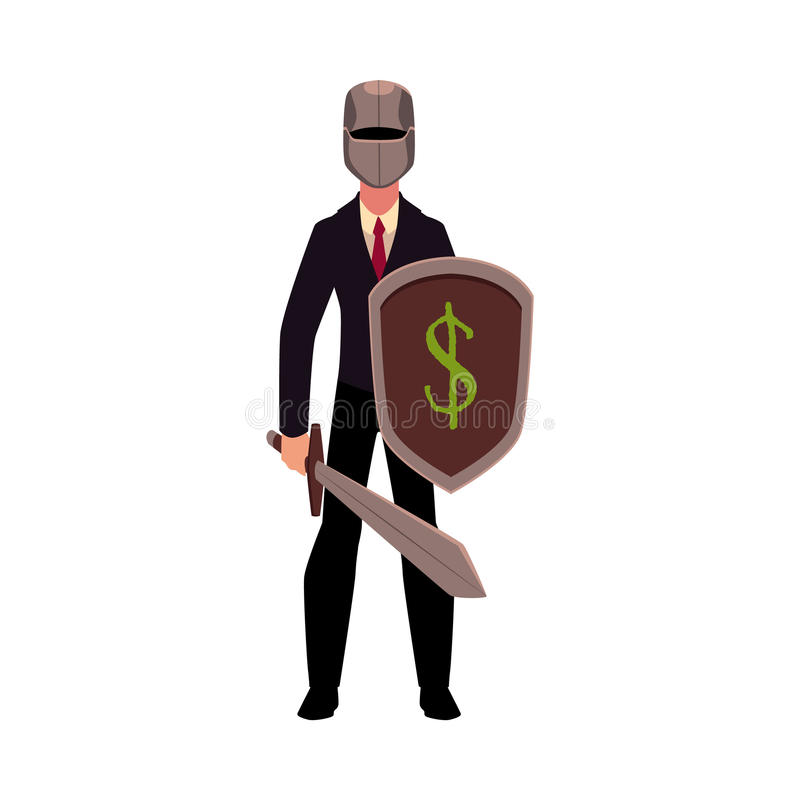 Businessman as knight in metal helmet holding sword and shield royalty free illustration