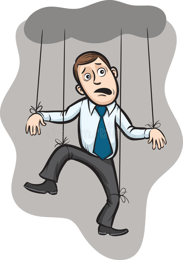 Businessman as a puppet on strings royalty free illustration