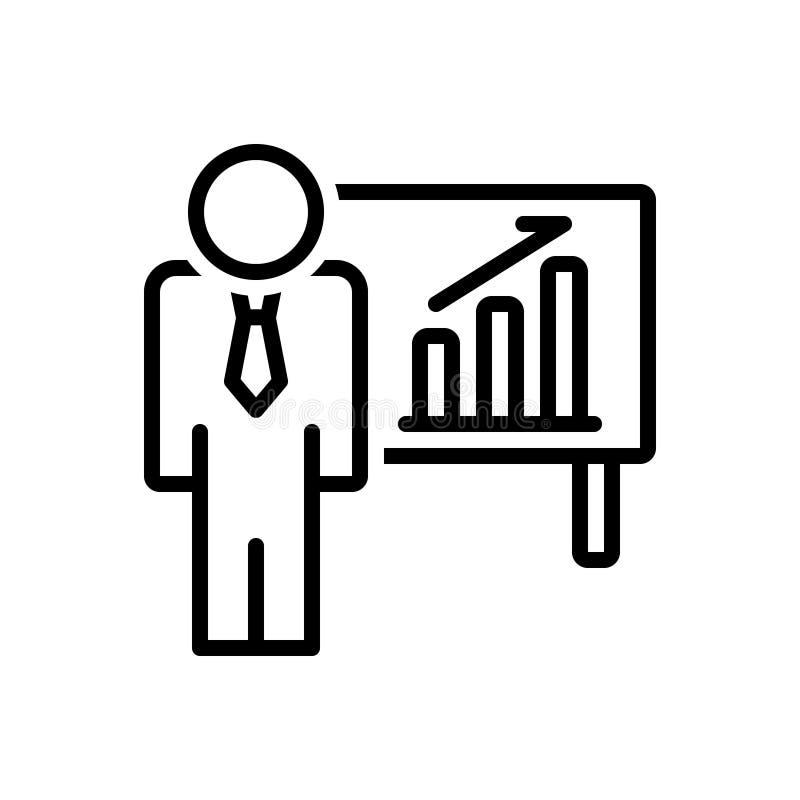 Black line icon for Businessman In Ascending, Business and  Bars Graphic. Black line icon for Businessman In Ascending, ascendant, achievement, presenting stock illustration