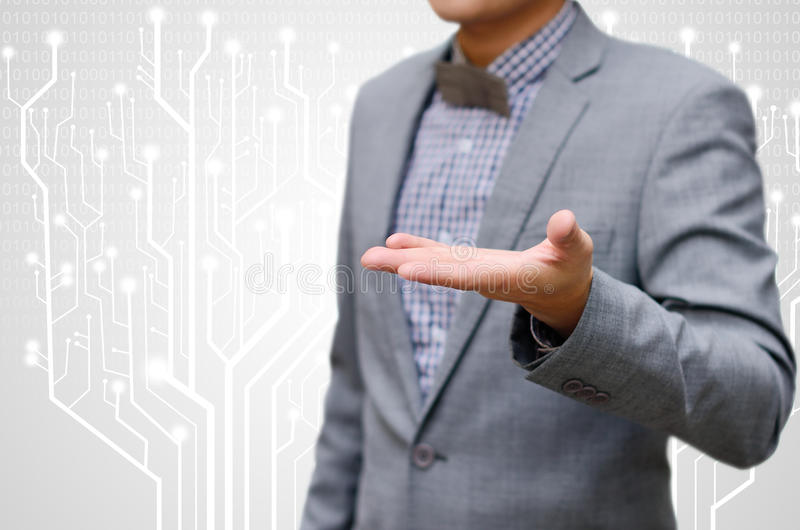 Businessman ask for new technology. Concept stock photos