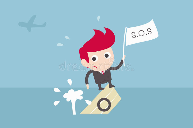 Businessman asking for help stock illustration