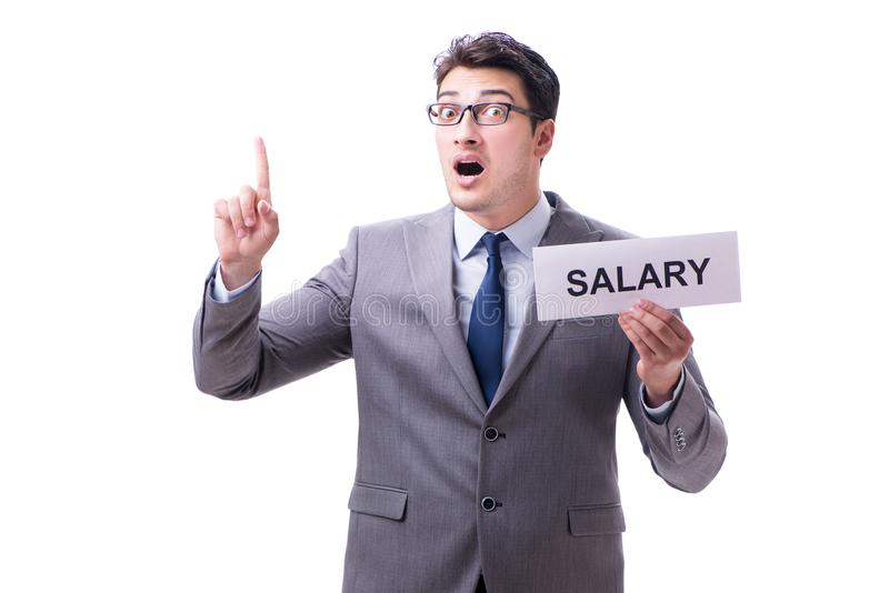 Businessman asking for salary increase isolated on white backgro royalty free stock images