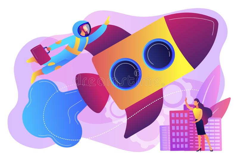 Space travel concept vector illustration. royalty free illustration