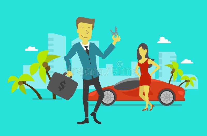 Businessman attained success. Car keys winning vector illustration