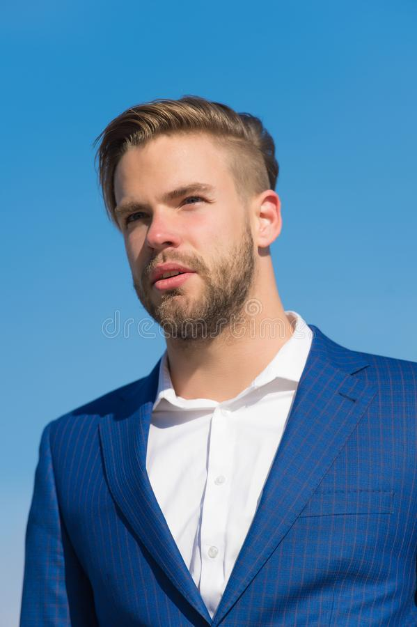 Businessman attractive appearance looks successful. Freedom concept. Businessman successful entrepreneur in suit outdoor stock photography