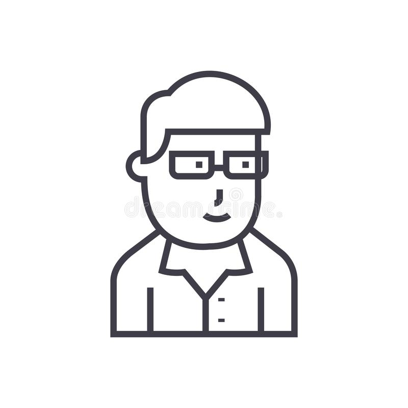 Businessman avatar with glasses vector line icon, sign, illustration on background, editable strokes stock illustration