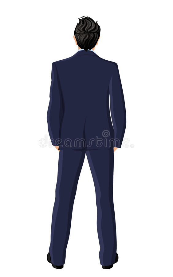 Businessman back view vector illustration