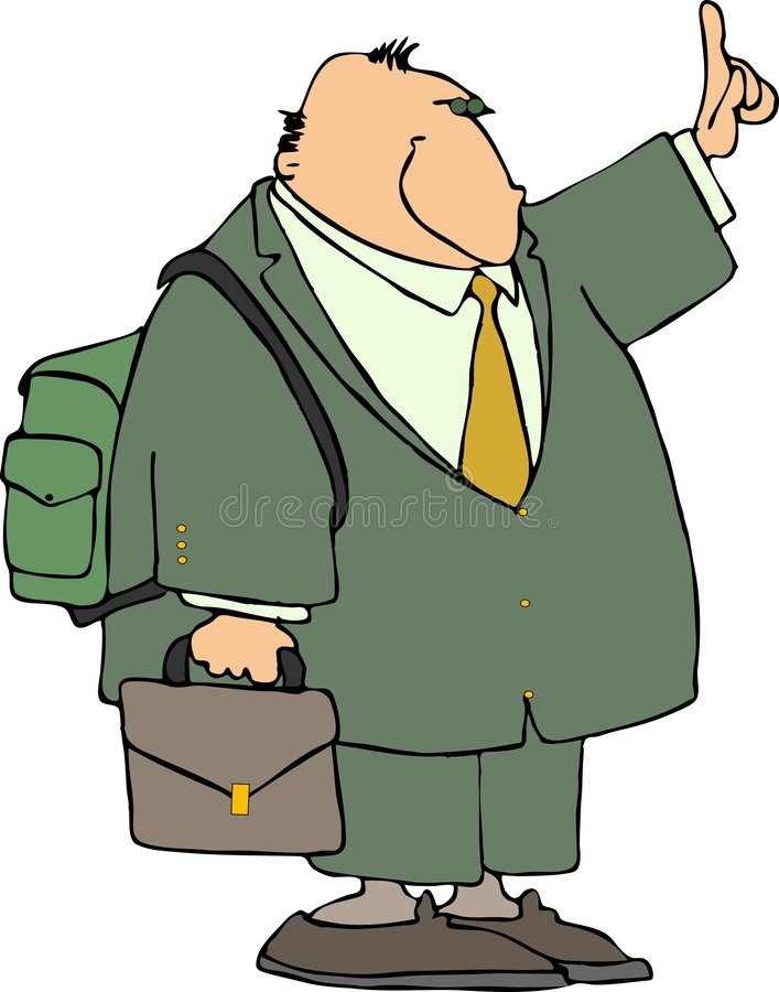 Businessman With A Backpack Stock Photo