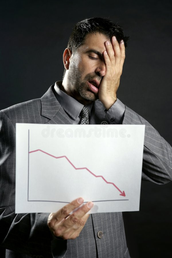 Businessman with bad sales reports chart royalty free stock photos