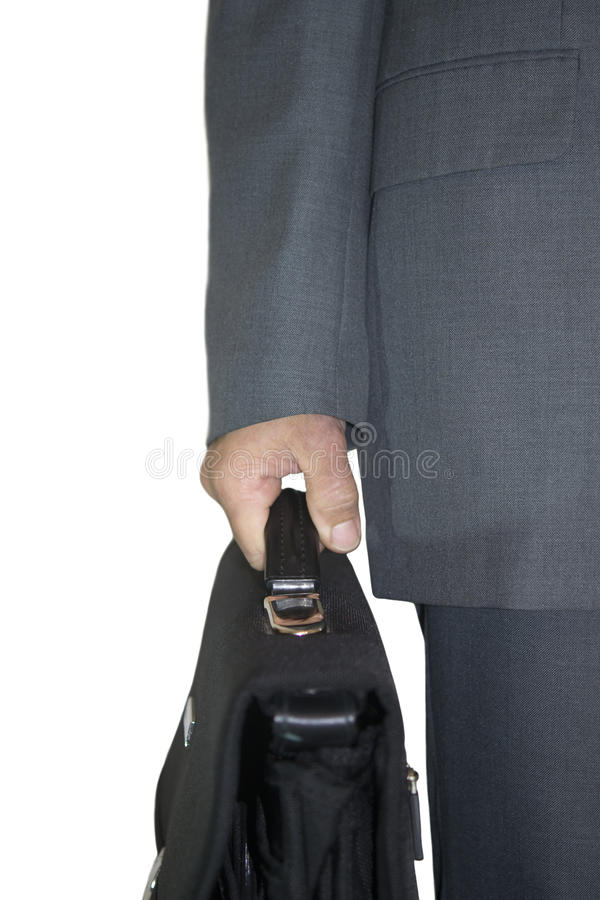 Businessman with bag stock photography