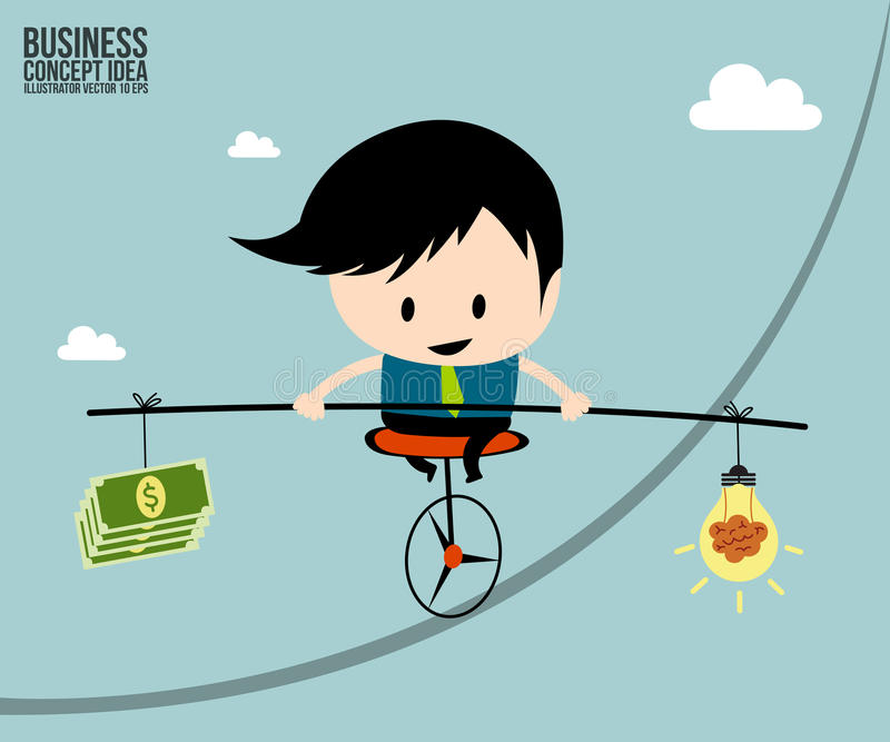 Businessman balance is brain in money on one wheel bicycle stock illustration