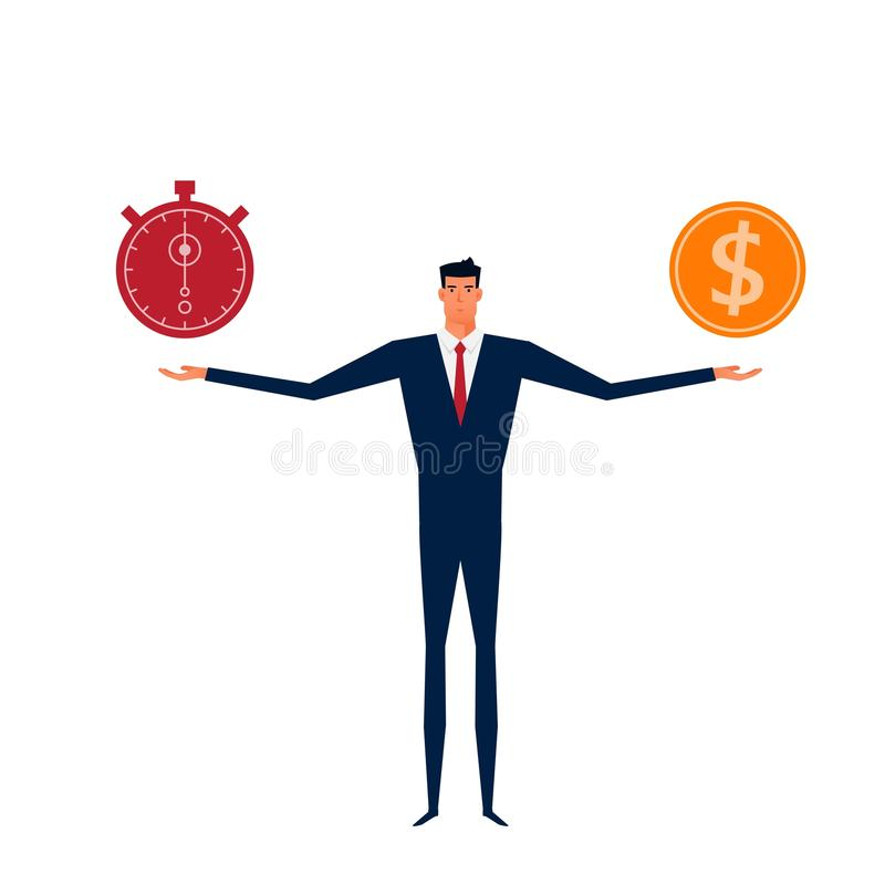 Businessman balance time and money. Time is money concept royalty free illustration