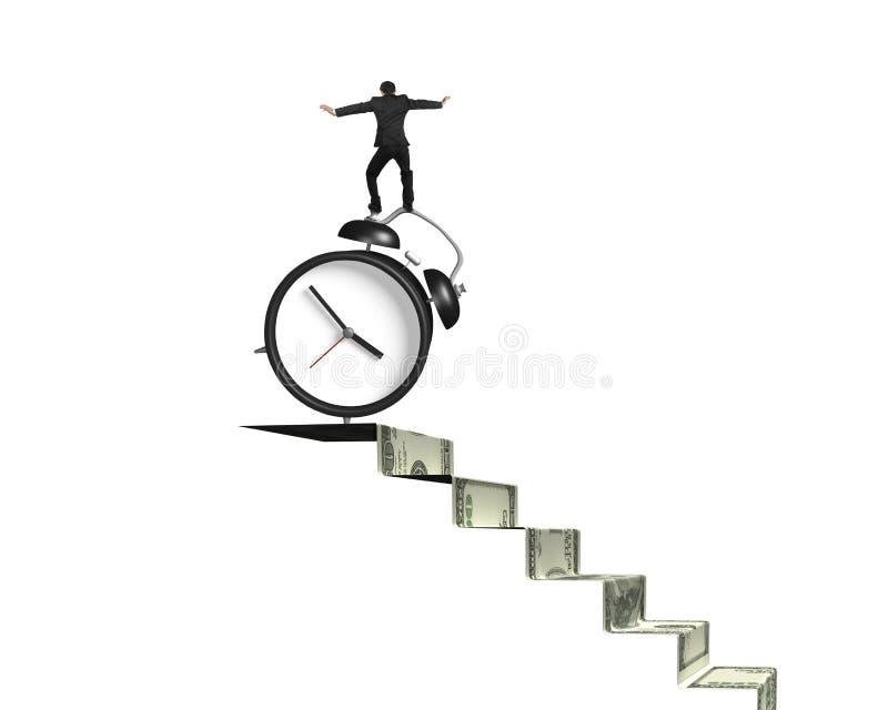 Businessman balancing alarm clock on money stairs royalty free stock image