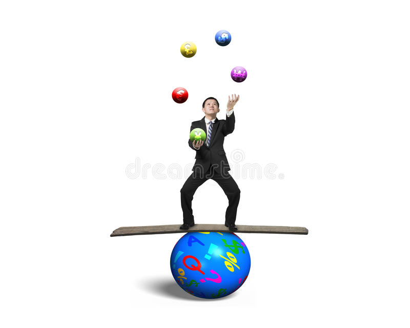 Businessman balancing on sphere juggling with currency symbol. Businessman standing on wooden board and balancing on sphere, juggling with currency symbol balls stock photo
