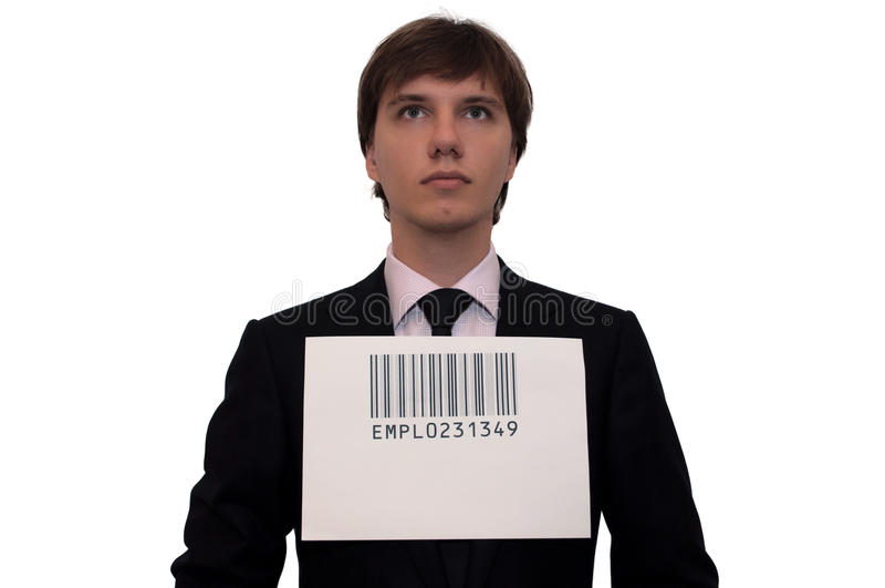 Download Businessman With Barcode, Isolated On White Stock Images - Image: 12341384