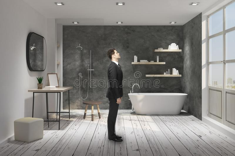 Businessman in bathroom. Side view of young businessman standing in modern bathroom interior. 3D Rendering stock photo