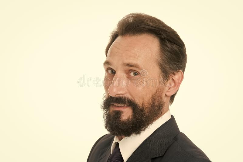 Businessman with beard and mustache. Caucasian man with beard smiling. Bearded man. Unshaven businessman. Bearded and. Handsome. Confident and successful royalty free stock photo
