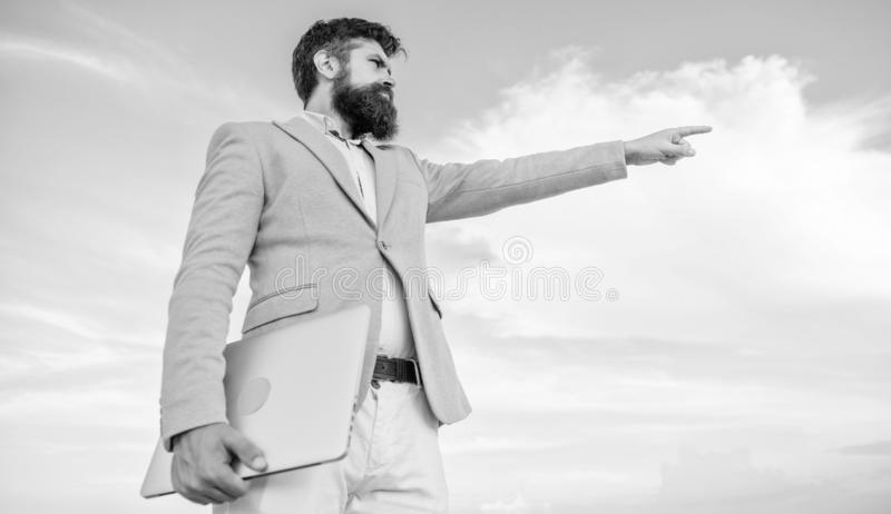 Businessman bearded face sky background. Changing course. Looking for opportunities and new chances. Developing business stock image