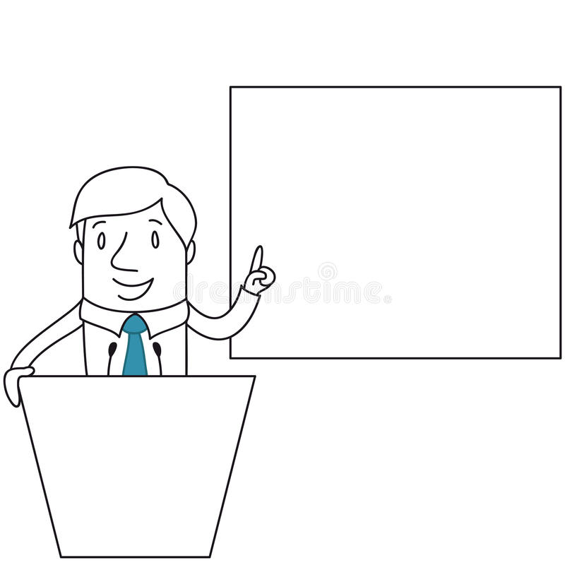 Businessman behind lecturn pointing at screen stock illustration