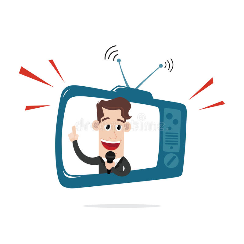 Businessman behind TV screen vector illustration