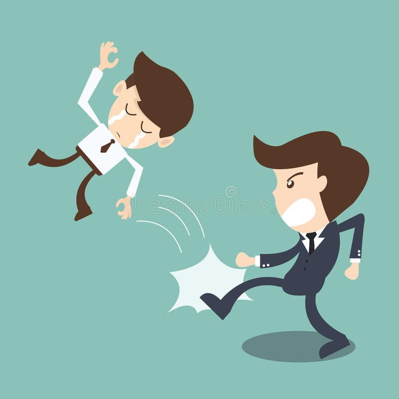 Businessman being kicked out by boss - Kicked Out. The cartoon business idea concept stock illustration