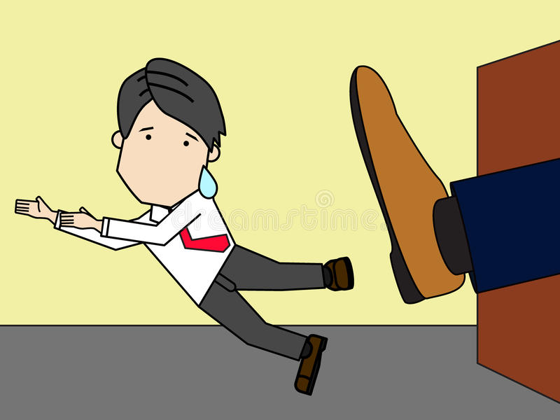 Businessman being kicked out of company. Funny flat vector style royalty free illustration