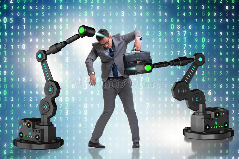 The businessman being manipulated by robotic arms. Businessman being manipulated by robotic arms royalty free stock photo