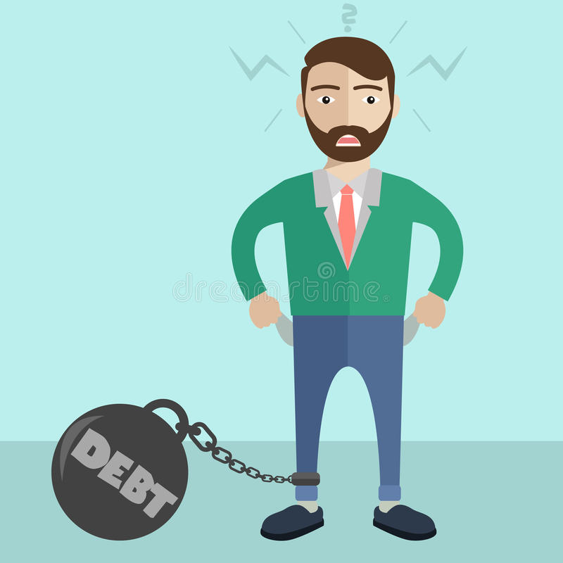 Businessman being trapped with big ball and chain , with message debt. Business concept in bankruptcy, failure, or debt vector illustration