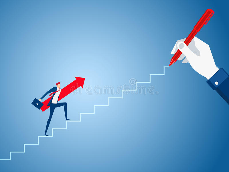 Businessman big hand drawing a line leading to the goal. Businessman with red arrow sign walking on the stairs step to success. Cartoon Vector Illustration vector illustration