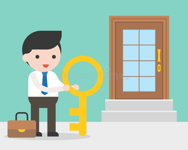 Businessman and big key standing in front of door of store, way royalty free illustration