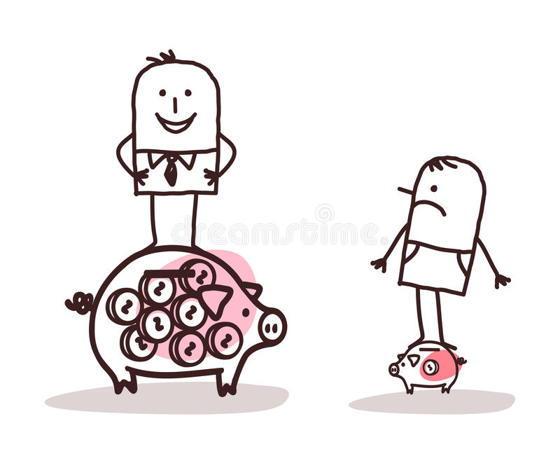 Businessman on Big Piggy Bank and Poor Man with Little One vector illustration