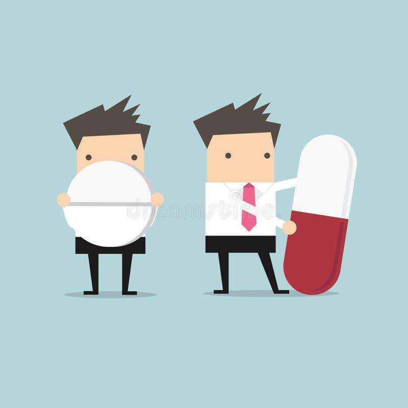 Businessman with big pill. Vector illustration royalty free illustration