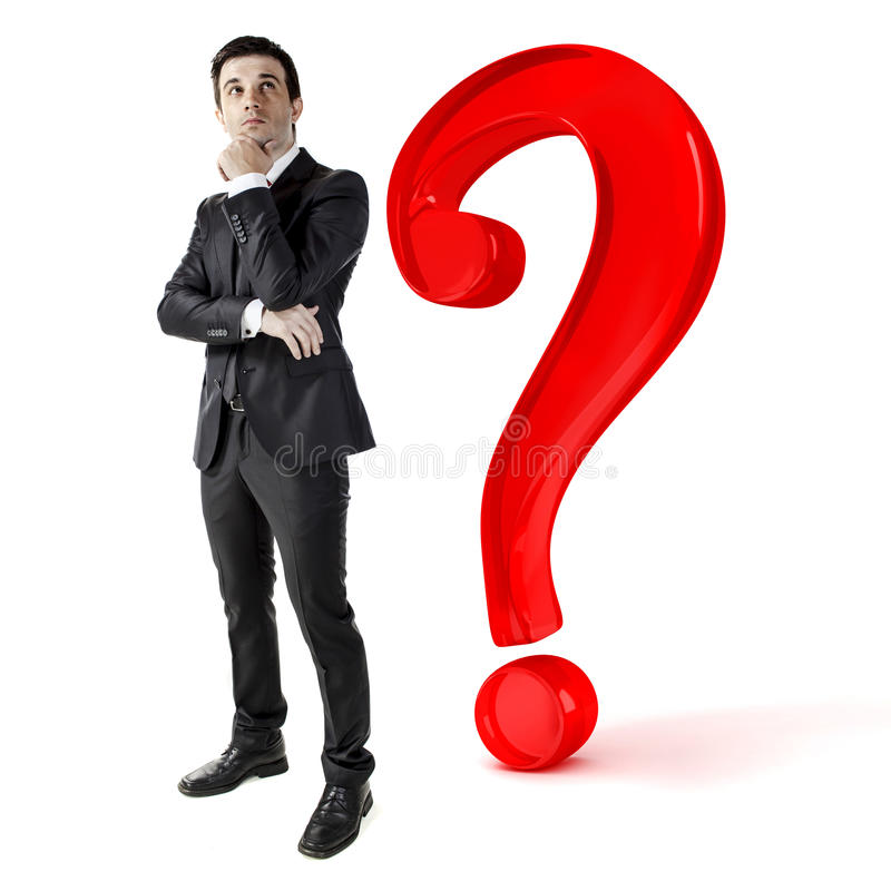 Businessman and a big question mark royalty free stock photo