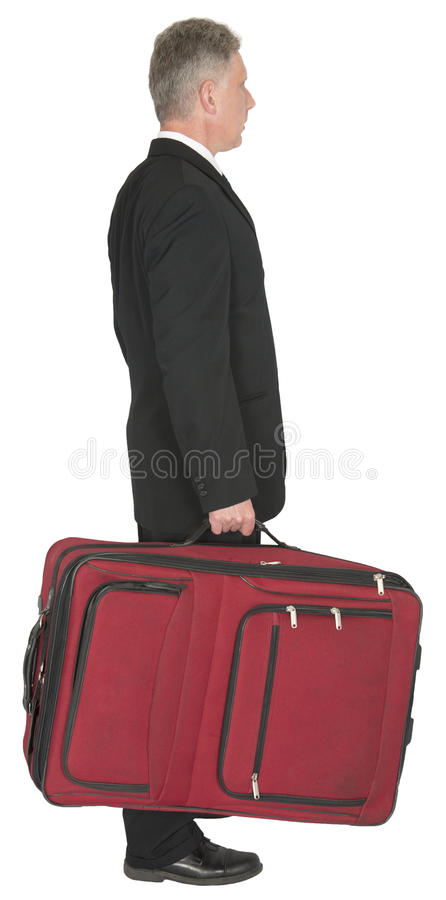 Businessman with Big Red Suitcase, Travel stock images