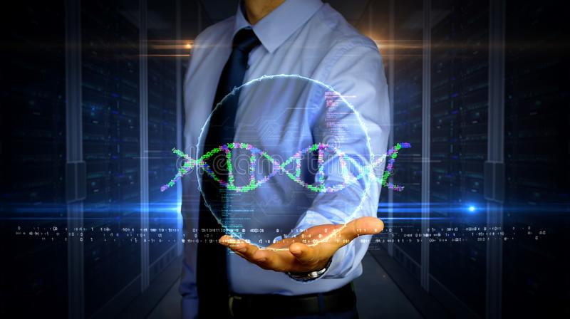 Businessman with biotechnology and DNA helix hologram. Man with dynamic biotechnology and DNA helix hologram on hand. Businessman and futuristic concept of stock photo