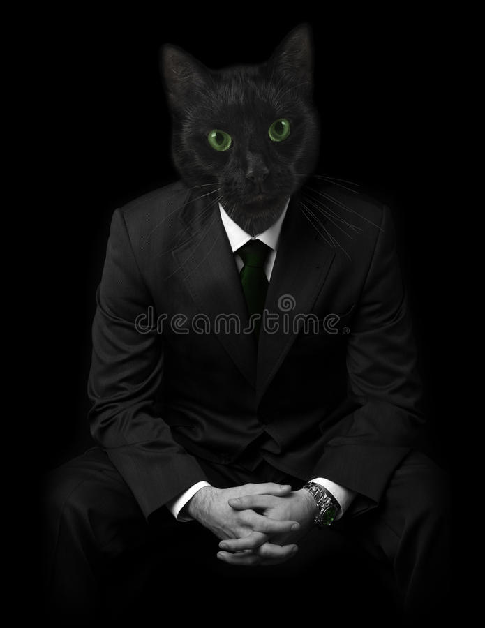 Download Businessman With Black Cats Face. Stock Photo - Image: 12575658