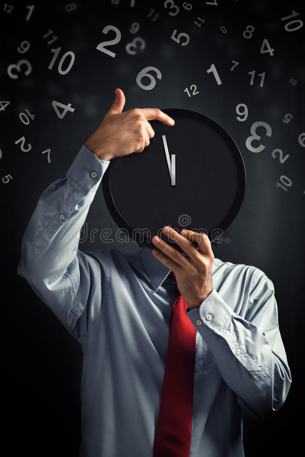 Download Businessman With Black Clock, Deadline Concept Stock Photo - Image: 31325840