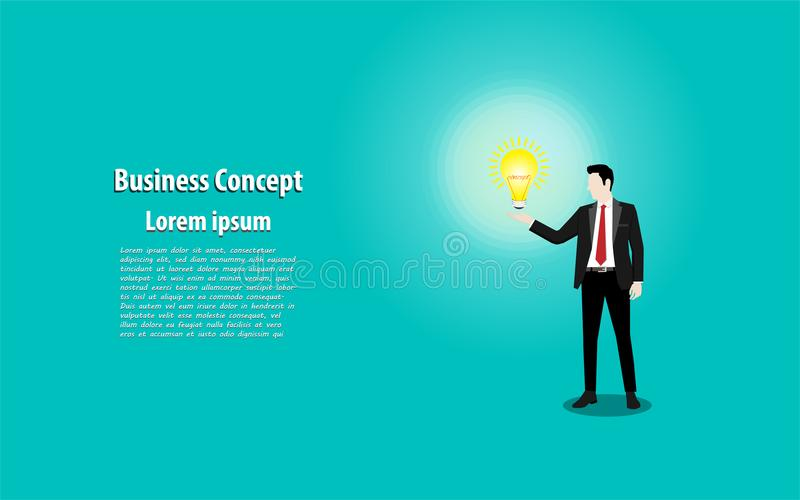 Businessman in black color suit standing on background holding w. Ith light bulb, Concept business. Illustration vector flat vector illustration
