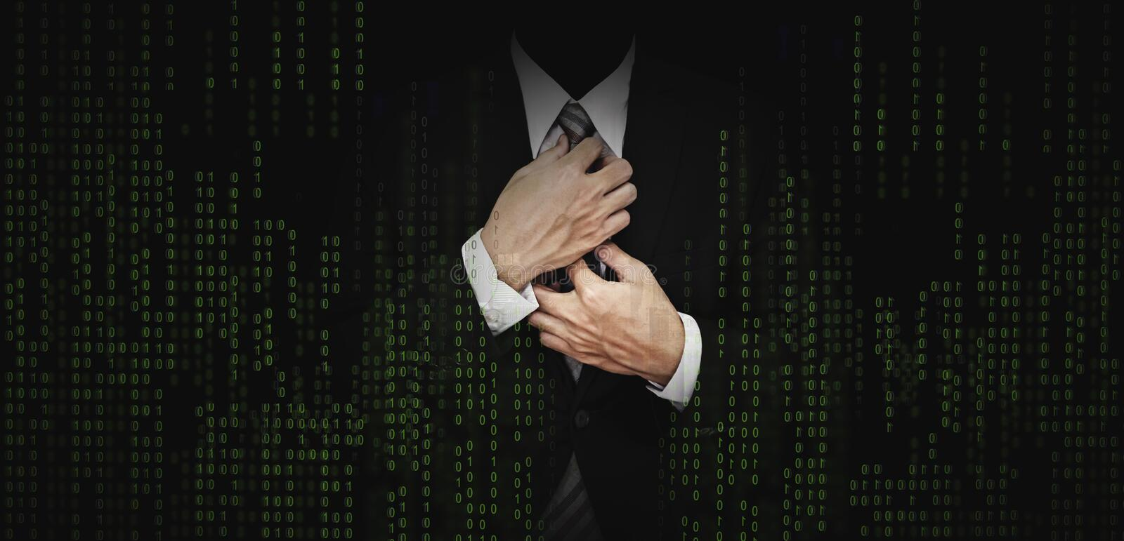 Businessman in black suit with abstract green computer code graphic background. business banking, internet safety security concept stock images