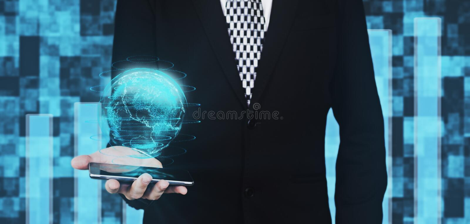 Businessman in Black Suit Holding Smartphone in Hand While Projecting Digital Globe Hud Interface Against Futuristic Background 3D stock illustration