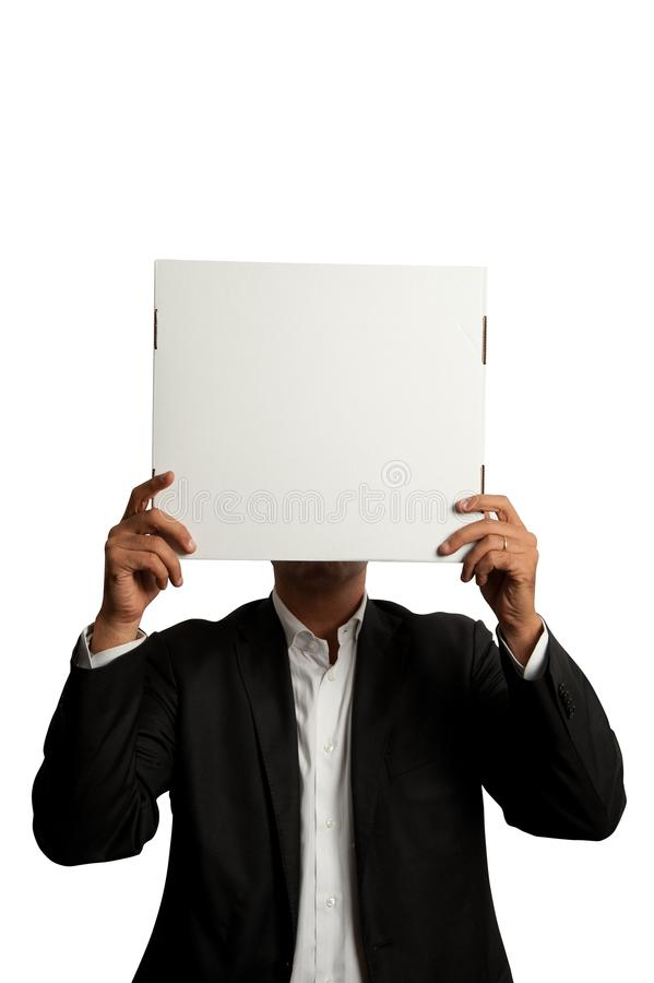 Businessman with blank carton royalty free stock image
